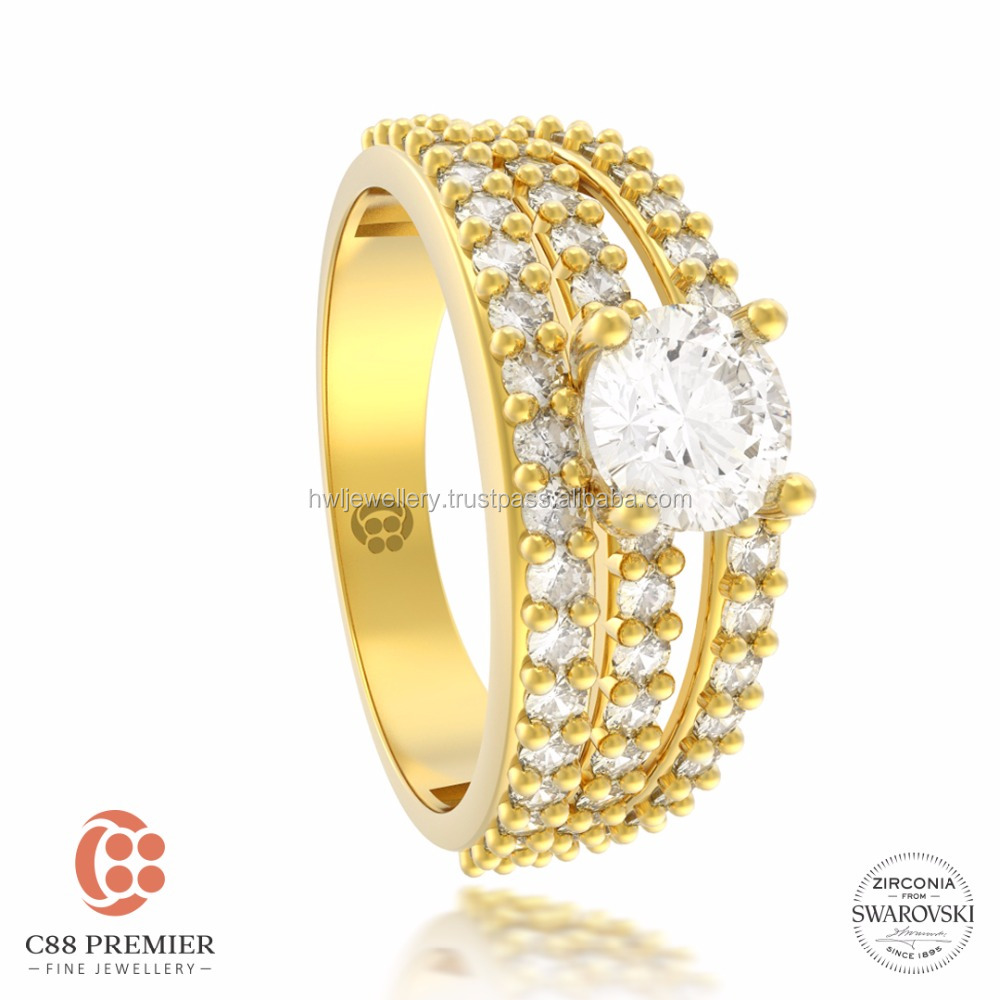 Gorgeous Trio Ring gold jewellery designs for girls