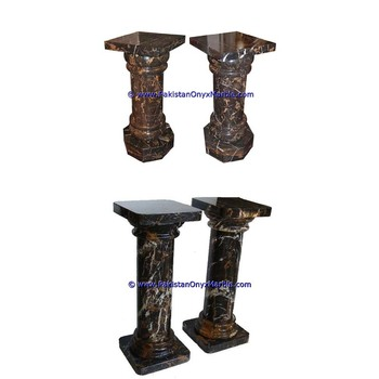 Carved marble pedestals stand display natural stone solid handcarved top rope style tapered black and gold Marble