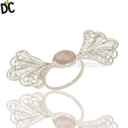 Wholesale Angel Wings Design 925 Sterling Fine Silver Ring Rose Quartz Gemstone Girls Party Wear Ring Manufacturer Jewelry