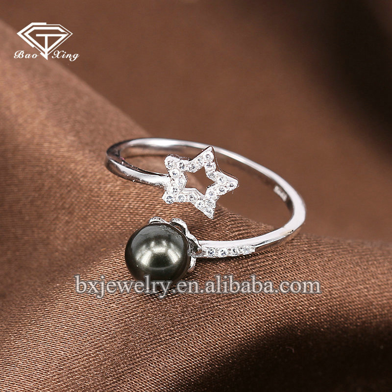 2017 trending products custom logo 925 silver cubic zircon star ring