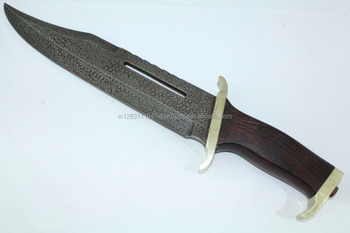 "Handmade Knife Damascus steel blade 17.5"" Long with wood Handle"
