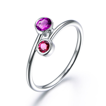 925 Sterling Silver Natual Amethyst Women Engagement Ring Fine Wedding Gemstone Jewelry Round Shape