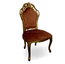 Gold Carved Solid Mahogany Wood Dining Chair French Style