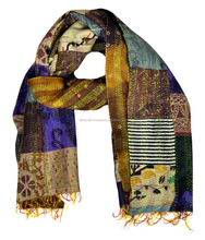 Attractive Color Kantha Silk Scarf Wrap Shawls Reversible Stole Floral Indian Scarves Vintage