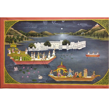 Vintage Mughal Silk Cloth Oil Painting