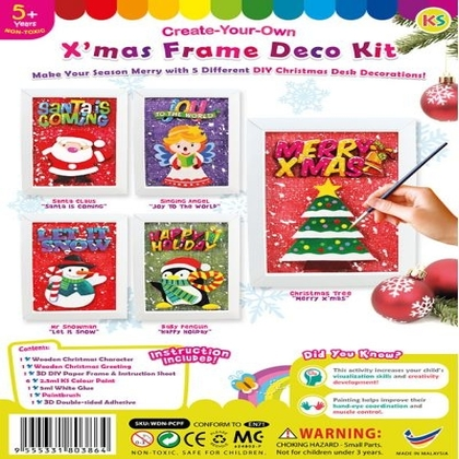 Christmas Frame Deco Kit - Kids Craft Educational Toys - Wooden MDF DIY Christmas Painting Kit