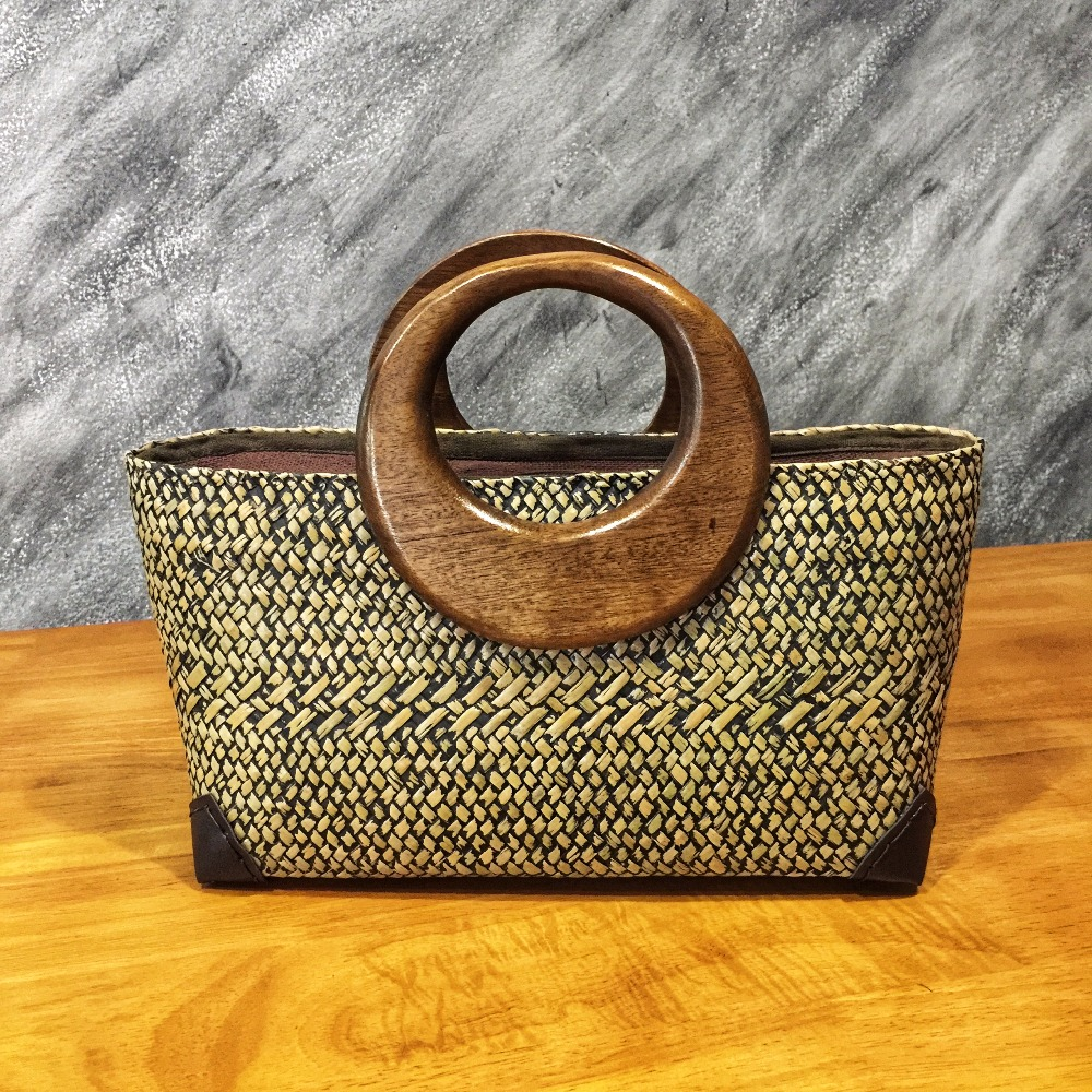 Natural Thai Craft Handbag Straw Shopping Bag Handmade Fashion Bag 100% Natural Product of Thailand
