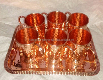 FDA APPROVED SET OF SIX 100% PURE COPPER MOSCOW MULE DRINKING MUGS SET WITH COPPER SERVING TRAY