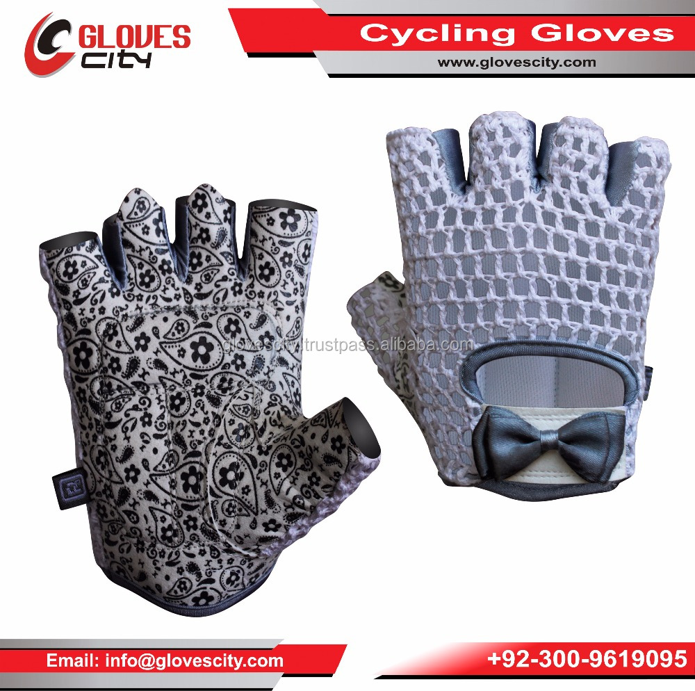 Crochet cycling gloves With Synthetic Leather Pam