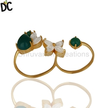 Yellow Gold Plated Silver Finger Ring Wholesale Crystal and Onyx Gemstone Ring Jewelry