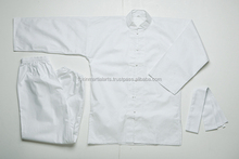 kung fu uniform white color with custom embroidery logo kung fu gi