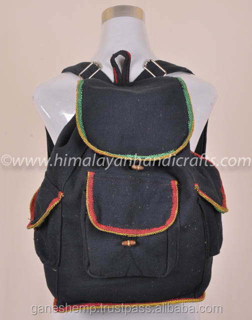 BLACK HEMP RECYCLED BACKPACK BPK 0017