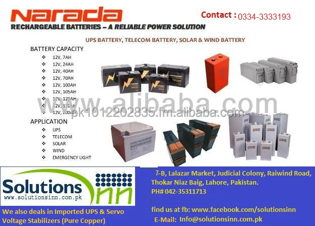 Narada Dry Rechargable Batteries for Home & Industrial application