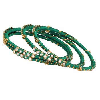 Jaipur Mart Gold Plated Sea Green Color Glass Stone Bangles Set PLKB283-2.6