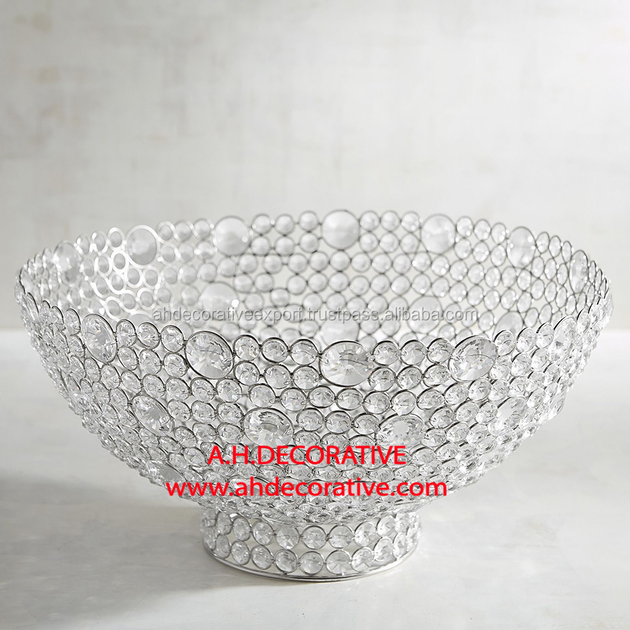 Silver Crystal Large Bowl