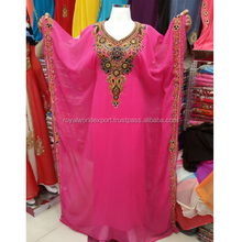 Stones design Georgette Party dress Beaded Abaya/Pink kaftan Abaya Dubai style