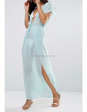 Sexy Wrap Front Chiffon Maxi Beach Kaftan Beach Dress for women