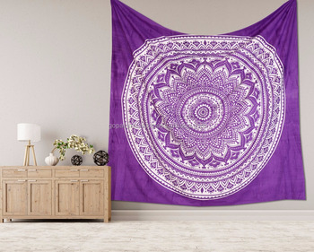 "Indian Handmade Ombre Mandala Tapestry Bohemian Bedspread Dorm Decor 95""X85"" Inch Purple Wall Hanging Hippie"