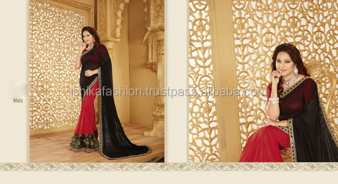 black red designer saree