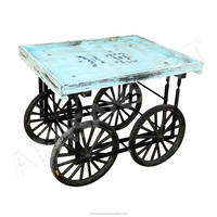 Recycled Wood Iron Rolling Vendor Cart