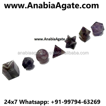 Amethyst 7 piece Geometry Set : Platonic Solid Crystal