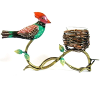 Indian Beautiful Handmade Painted Metal Gifting Unique Home Decor Bird with Nest T Light Holder Stand