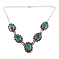 Magnificent Coral & turquoise necklace for women 925 sterling silver jewelry gemstone necklaces wholesale