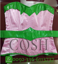 Overbust Super Woman Corset, Satin Corset, Leather Belts