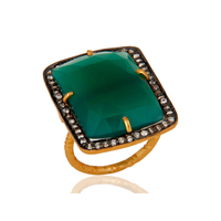 Natural Green Onyx Gemstone Ring Gold Plated Silver Ring Designer Jewelry For Girls