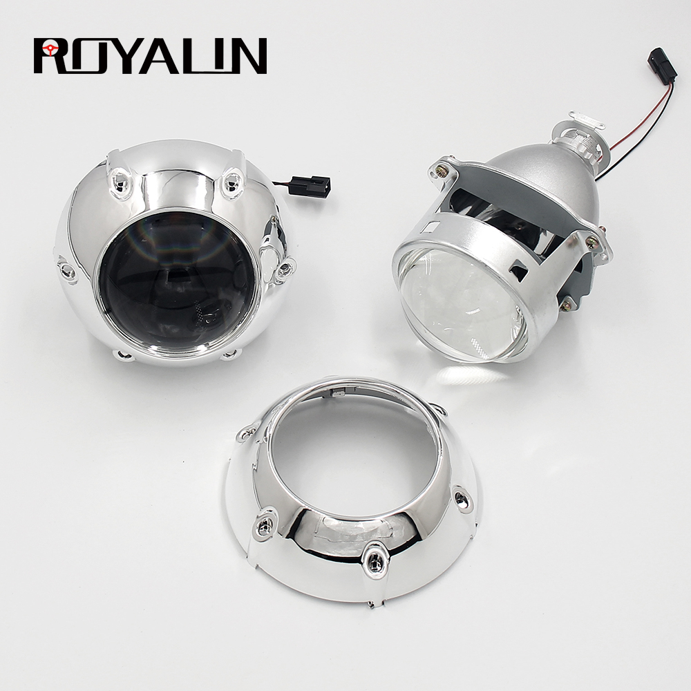 ROYALIN HID <strong>H1</strong> Bi Xenon Headlight Projector Lens 3.0 Inch Full Metal for H4 H7 9005 9006 Auto Light Retrofits
