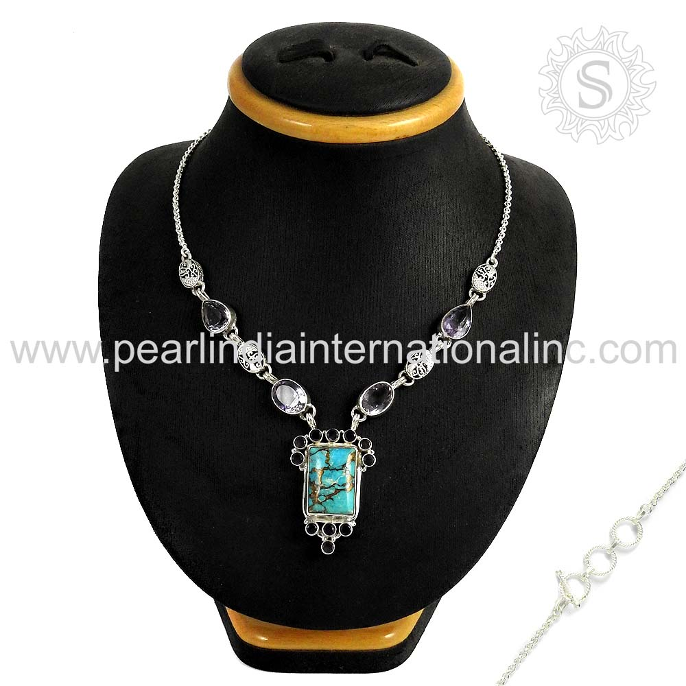 Accessories for women multi gemstone silver necklace 925 sterling silver jewellery manufacturer wholesale necklace