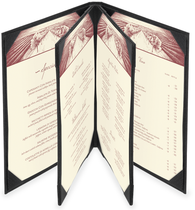 Hotel Menu 4 view 3 panel Menu Covers, Restaurant Menu Holder