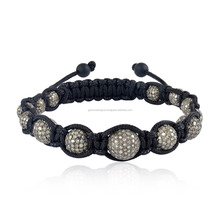 925 Silver Pave Diamond Ball Black Onyx Fixed And Flexible Bracelet Macrame Jewelry
