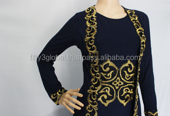 Modest Abaya Caftan Dress Gold Floral Embroidery Dress Beautiful