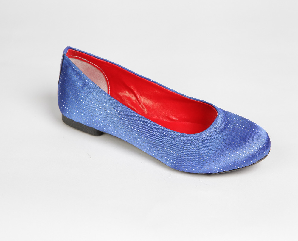 Artifical Leather Ballerina Shoes Babettes (Blue Satin)