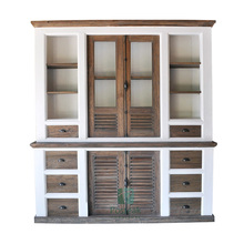 Modern big cabinet white painted combination recycled teak indoor living room Indonesia furniture