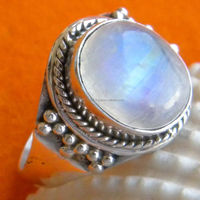 Rainbow Moonstone 925 Sterling Silver Handmade Designer Cocktail Ring