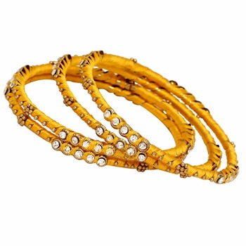 Jaipur Mart Gold Plated Yellow Color Glass Stone Bangles Set PLKB279-2.6