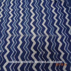 Va054 Stripe Design Blue and White Indian Hand Printed Fabric