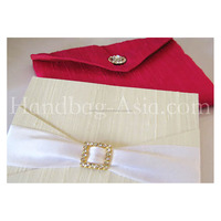 Two Pieces Set Of Dupioni Silk Envelope & Crystal Buckle Embellished Silk Pad For Wedding Invitations