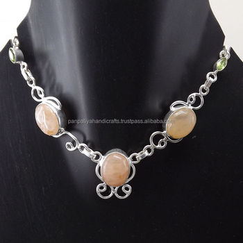 Aventurine, Peridot Necklace plated 925 Sterling Silver 19 Gms 18-20 Inches