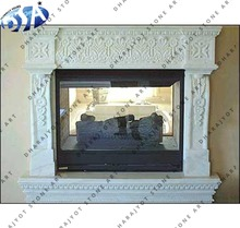 Corner Decor White Stone Carving Fireplace