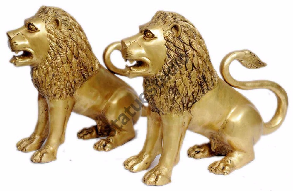 Brass lion pair statue figurine home decor hand carved animal sculpture 15""
