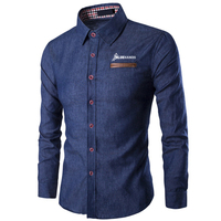 High Quality Long Sleeve Slim Fit Men Jeans Shirt