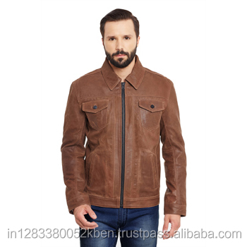 Justanned Men'S Tan Leather Zip Front Jean Jacket