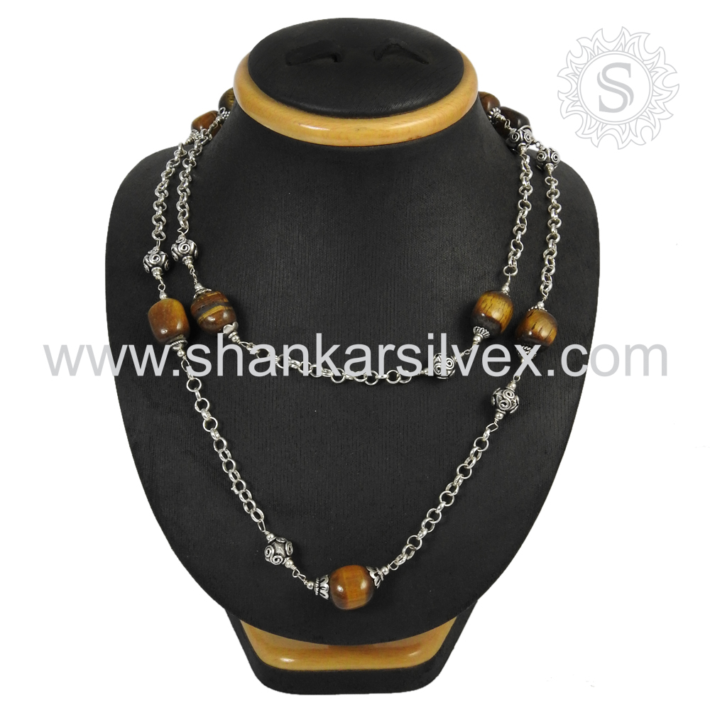 Sumptuous tiger eye gemstone silver necklace jewelry 925 sterling silver handmade jewellery manufacturer