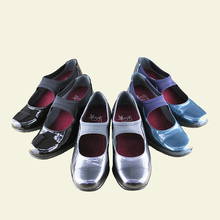 Wrapped slip on flat nice lady belly shoes for bunions with soft enamel leather