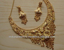 gold plated bridal necklace set exporter, gold plated wedding jewellery set manufacturer