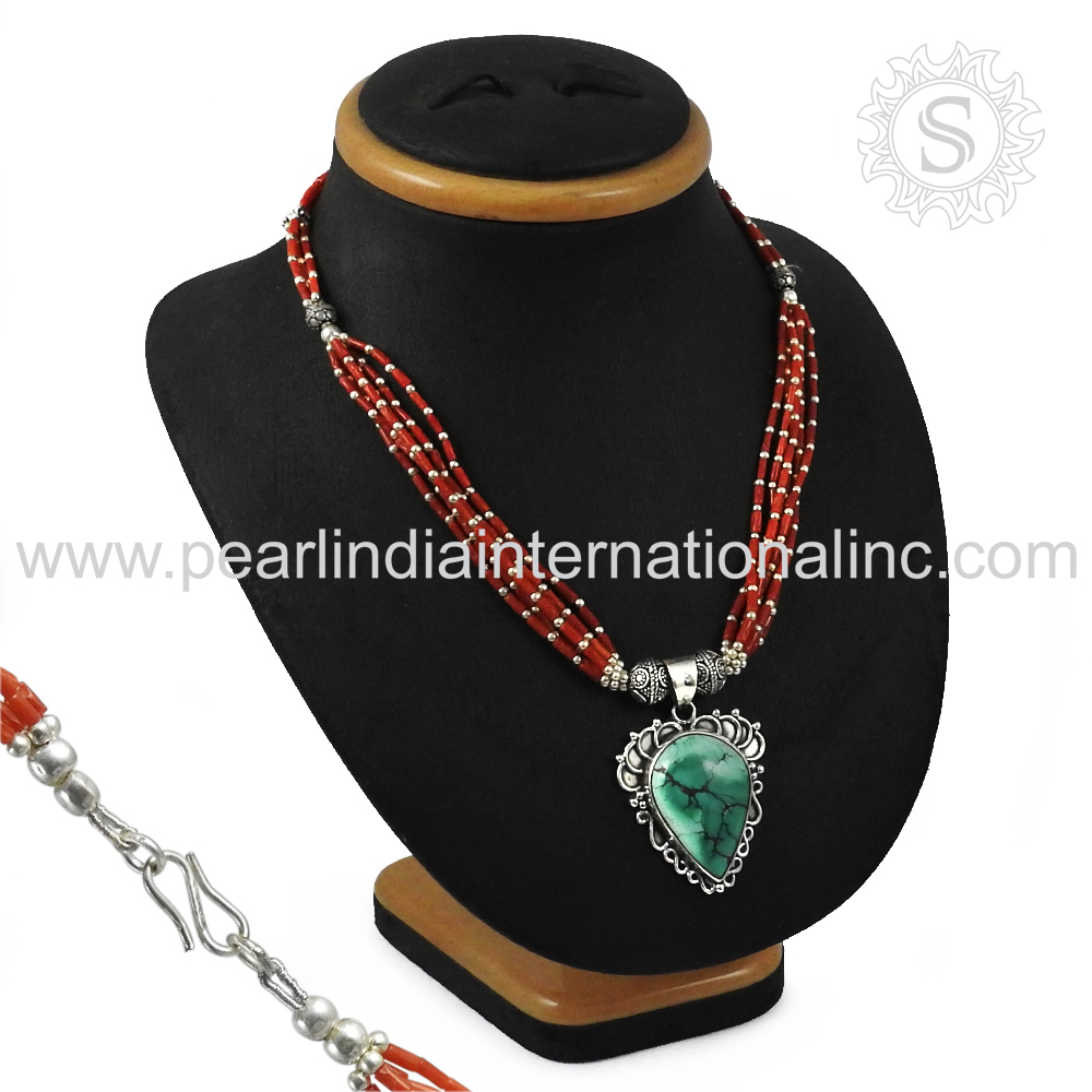 Phenomenal indian design 925 sterling silver necklace coral turquoise beaded silver jewelry handmade necklace supplier
