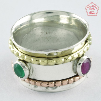 Ruby & Emerald Stone 925 Silver Triple Tone Spinner Ring, Wholesale Ring India